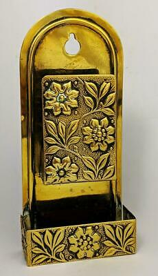 AESTHETIC MOVEMENT BRASS HANGING MATCHSTICK HOLDER c1890