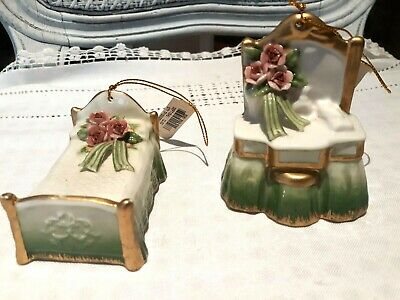Victorian Elegance Porcelain Christmas Ornaments Pink Roses & Bows Set of 2 ~