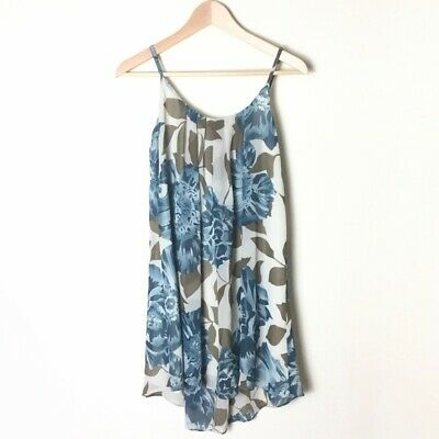 ANTHROPOLOGIE E by Eloise Tan Blue Floral Sleeveless Swing Shift Dress Size XS