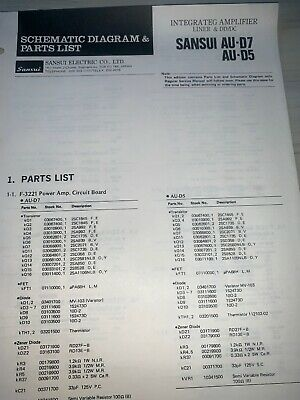 Sansui AU-D7,D5 Amplifier Parts List Schematics