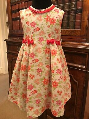 Girls' Vintage Pink, Green & White Floral Dress - Age 3 Years