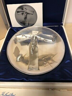 1972 SIGNED SALVADOR DALI STERLING SILVER EASTER CHRIST PLATE LINCOLN MINT w/BOX