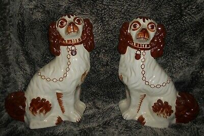 Two Staffordshire King Charles Spaniel porcelain dog ornaments tan white ex cond