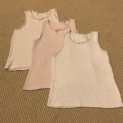Mothercare 3-Pack Pink & White Girls Vests Age 3-4 Years