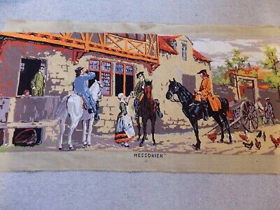 "Vintage Large Completed needlepoint / tapestry - Messonier (Meissonier)38"" x 15"""