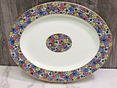 Antique Royal Worcester for Tiffany & Co Imari Floral Oval Meat Platter 15""