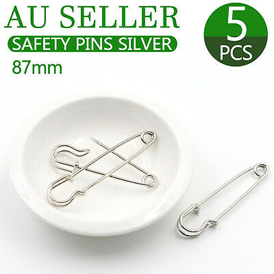 5x Large Safety Pins 3.5 Inch 87mm Silver Tone Metal Craft Big Sewing Quilt Need