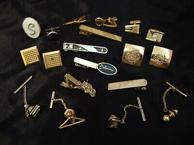 Men's Junk Drawer LOT Cufflinks Tie Tack Clip Bar Jewelry Accessories Vtg to Now