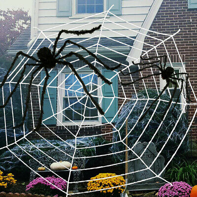 2M Hairy Giant Spider Halloween Props Decoration Spider Web Haunted House Party