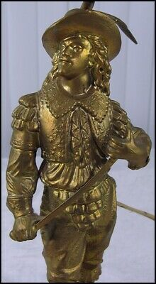 Antique? Vintage Painted Spelter Metal French Musketeer Swordsman Statue Lamp