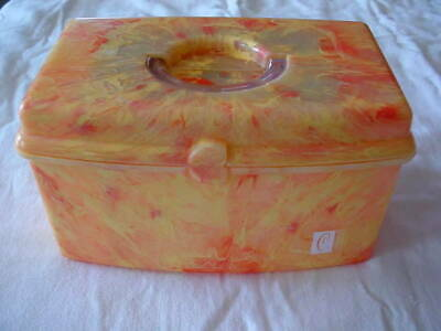 Caboodle Vintage Retro Marbled Orange And Yellow Cosmetic Case