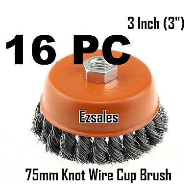 "16 Twist Knot Wire Cup Brush 3"" (75mm) for 4-1/2"" (115mm) Angle Grinder"