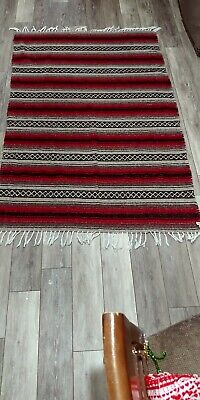 Authentic Mexican Falsa Blanket Red beige Navy blue. Throw Yoga Woven