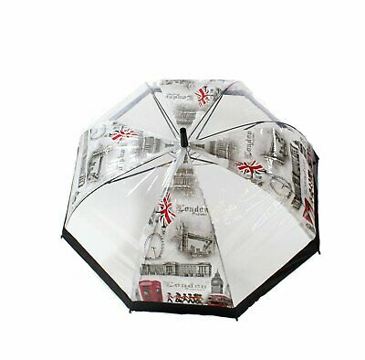 Zac's Alter Ego® Large London Themed Transparent Umbrella with Black Trim