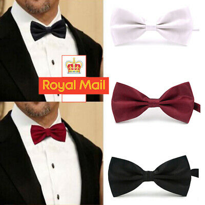 Men Bow Tie Wedding Prom Party Pre-Tied Adjustable Dickie Bow Neck Tie UK