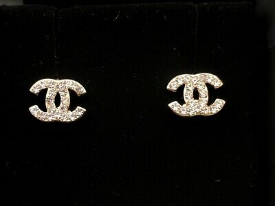 Authentic Chanel Classic CC Logo Crystal Gold Earrings Studs Mini
