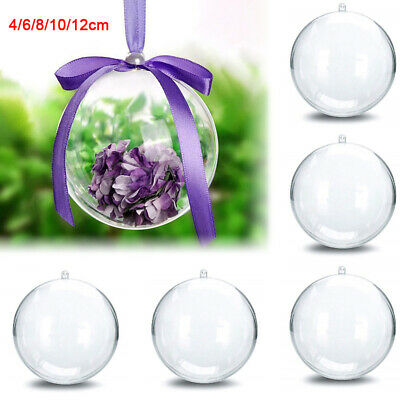 1-100Pc Clear Plastic Christmas Balls Baubles Sphere Fillable Xmas Tree Ornament