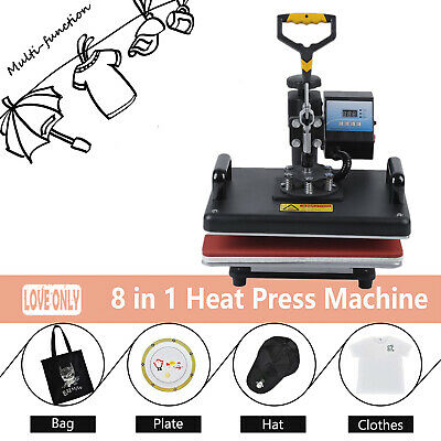 8 in 1 Heat Press Machine Transfer Mug Hat Cup Sublimation Printer Printing OZ