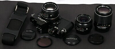 Asahi Pentax K2 Black 35mm Film SLR Camera c/w smc Pentax-M 50mm f/2 Lens Kit