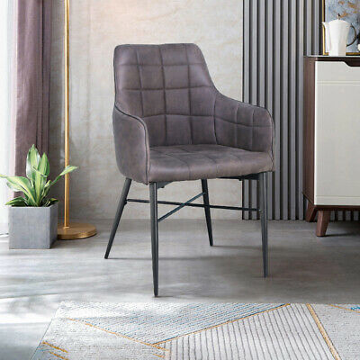 Magnificent 2X Grey Dining Chairs High Faux Leather Padded Home Cafe Evergreenethics Interior Chair Design Evergreenethicsorg