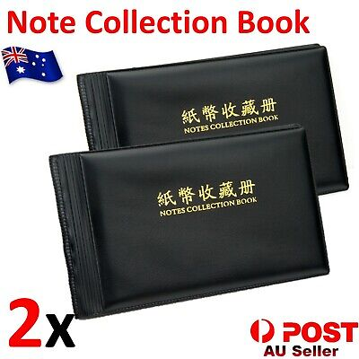2x Bank Note Album Stock Collection Storage Currency Holder Pocket Paper Money