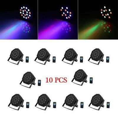 10PCS 24W 18 LED RGB DMX PAR CAN DJ Stage Lights for Wedding Party Uplighting