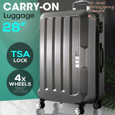 "28"" Check In Luggage Hard side Lightweight Travel Cabin Suitcase TSA Lock Grey"