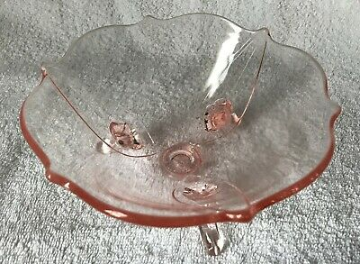Vintage Pink Blush Depression Glass 3 Footed Candy Nut Dish Bowl Scalloped Edges