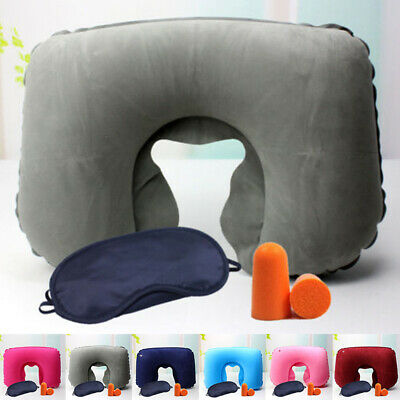 Hinchable Viajes Cojín Cervical u Shaped Memoria Rest con Earplug Ojos Conjunto