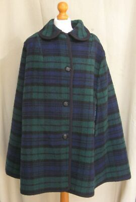 Vintage 60s tartan wool reversible cape poncho checked size M - L 14 16 18