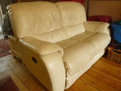 COLCHESTER 2 SEATER cream leather reclining sofa couch & 1 ...