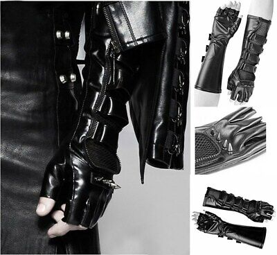 Cool Men's Leather Long Gloves Spikes Punk  Bracers Motorcycle Fingerless Gloves