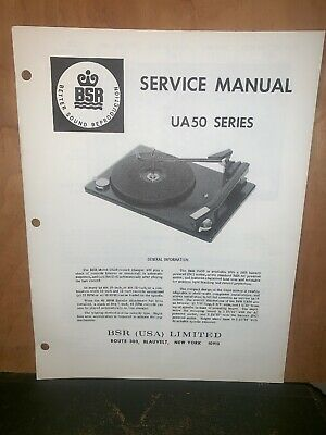 BSR Turntable record player UA50 Series Service Manual