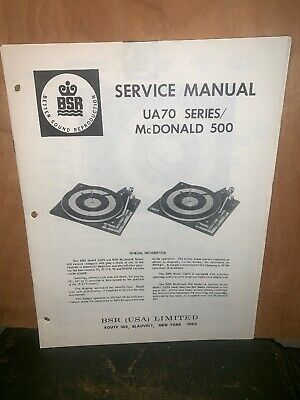 BSR Turntable record player UA70 Series & McDonald 500 Service Manual