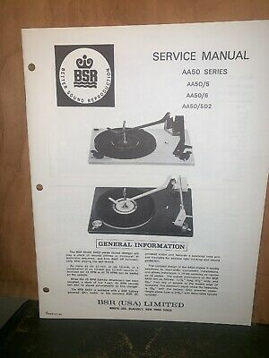 BSR Turntable record player AA50 Series Service Manual Schematics