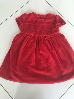 Mothercare Baby girls Velour red dress size 12-18 months. exellent condition.