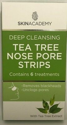 Skin Academy Cleansing Tea Tree Nose Pore Strips Blackhead Remover 6 Treatments