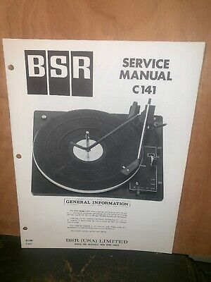 BSR Turntable record player C141 Service Manual Schematics.