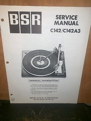 BSR Turntable record player C142/C142A3 Service Manual Schematics.