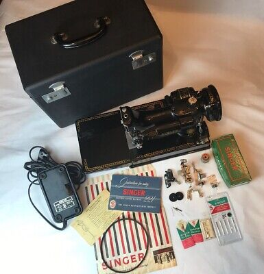 Vtg Singer 1955 221 Electric Featherweight Sewing Machine & Case Plus More!