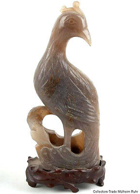 China 19. Jh Peacock - a Chinese Agate Carving of - Chinois Qing