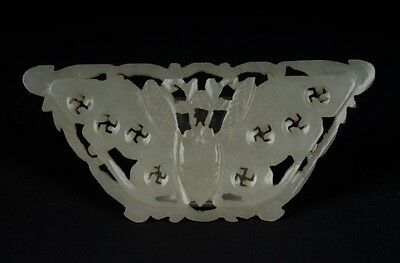 China 19. Jh a Chinese Jade Carved Butterfly Plaque -giada Cinese Chinois Qing