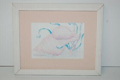 "Mary Chapman Framed Shell Watercolor Print Signed by Artist 9 1/4"" x 11 1/4"""
