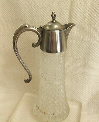 "Vintage Decorative Silver Plated And Glass 12.5"" tall Claret Jug Wine Pitcher"