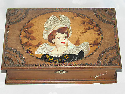 Antique Boxset Box for Jewelry Wood Painting Costume Tradition Morlaix Brittany