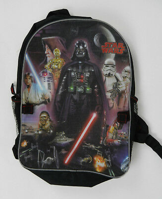 Lucasfilm Backpack Star Wars Black with Movie Characters on Front Zipper Close