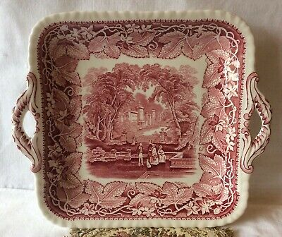 Nice Masons Vista Pink/Red Transferware Handled Cake Plate