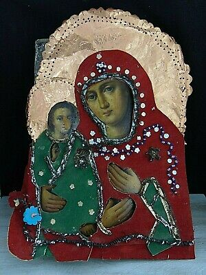 Antique19th Russian Hand Painted Wood Orthodox Large Icon Mother of God