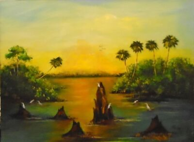 Original Florida Highwaymen Style Painting by Rochelle Sunrise on the Marsh