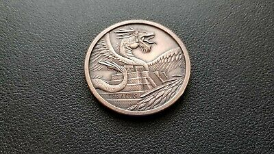 The Aztec World Of Dragons 1 Oz Copper Round Antique Finish Edc Challenge Coin